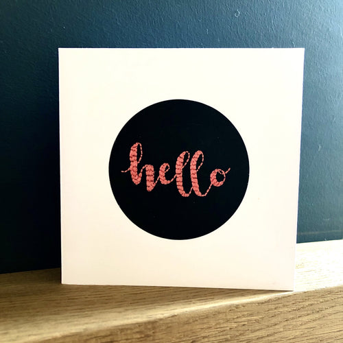 Hello Embroidered Card