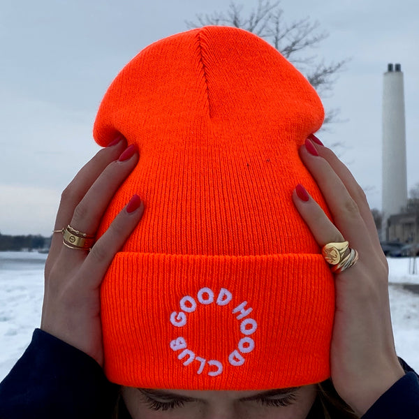 Neon Orange & White Beanie with Embroidery