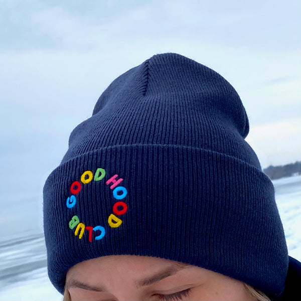 Thea Beanie in Navy with Rainbow