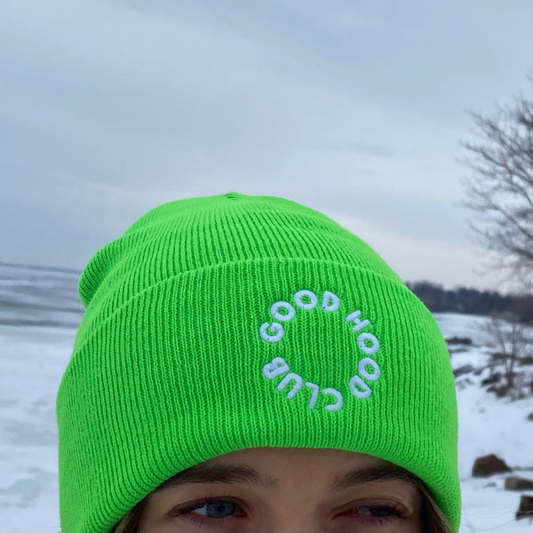 Neon Green & White Beanie with Embroidery
