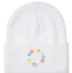 White & Rainbow Beanie with Embroidery