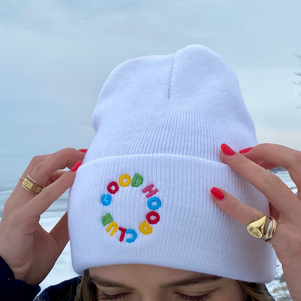 Thea Beanie in White with Rainbow
