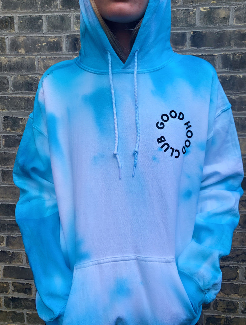 blue tie dye hoodie in size medium