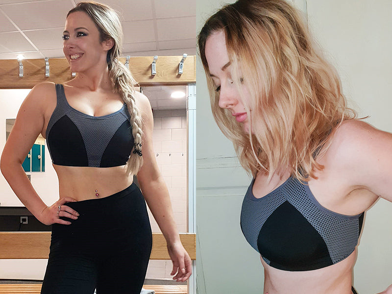 Josie Jayne wears fuller bust D+ sports bra Pour Moi Energy Non-Wired in 32FF