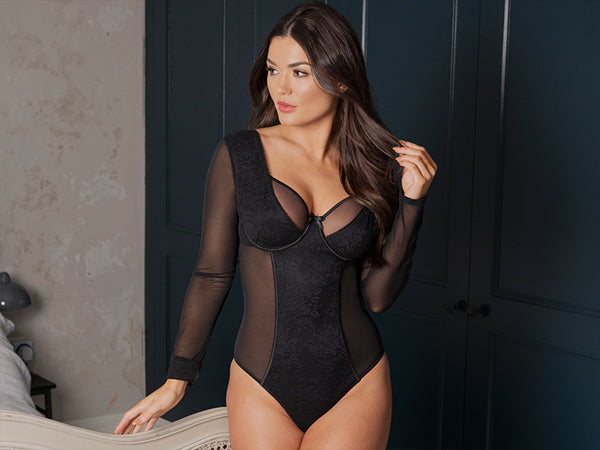 pour moi lingerie muse long sleeve black bodysuit