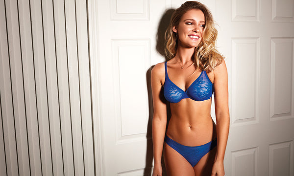 gossard glossies lace bra electric blue