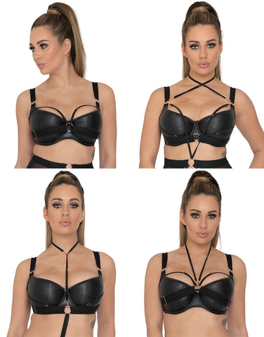 scantilly harnessed half cup leather bra
