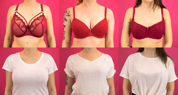 Various Red Bras Under White T-Shirt Test