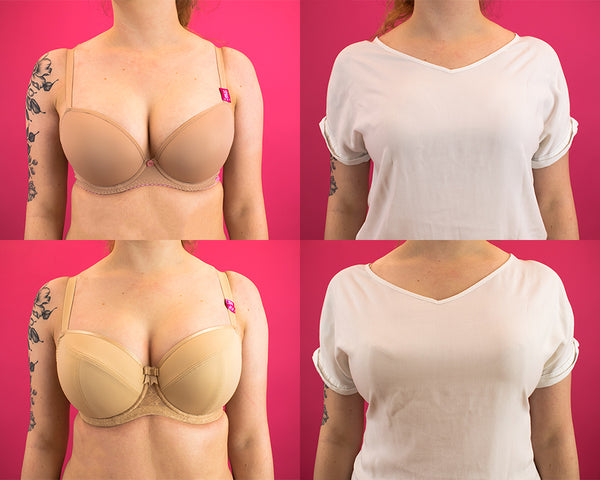 Moulded Bra vs Cut and Sew Bra White T-Shirt Test