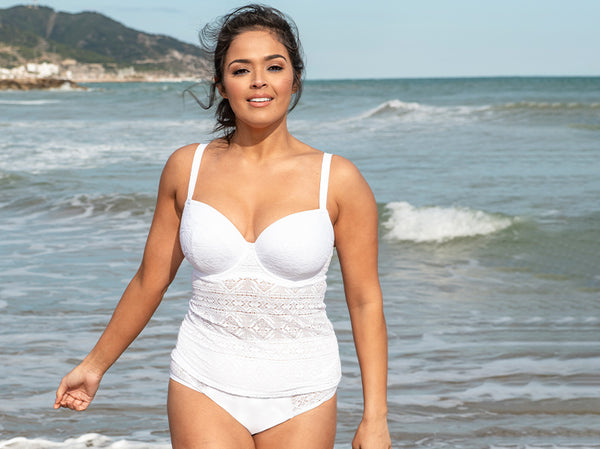 curvy kate rush tankini white
