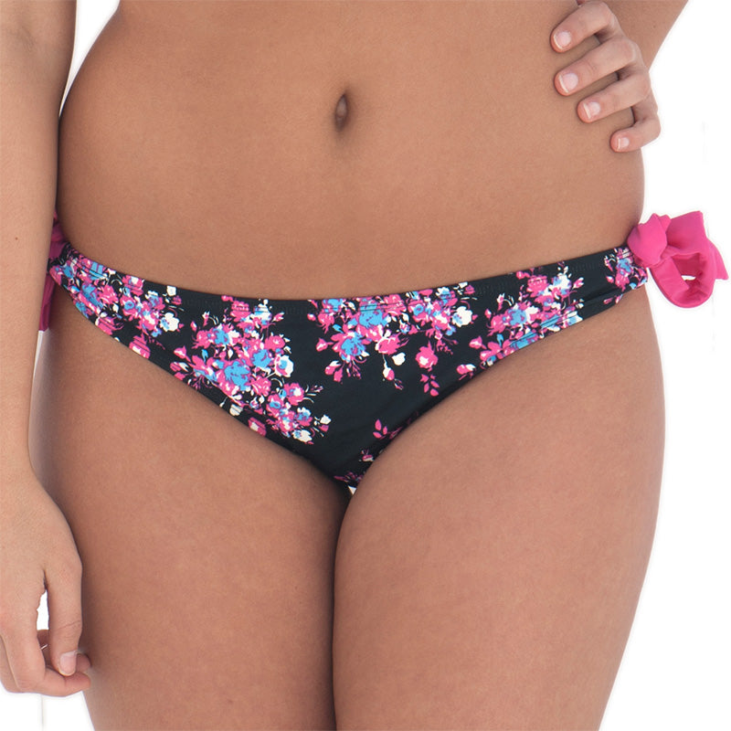 Curvy Kate Moonflower Ruffle Tie Side Brief Black/Floral