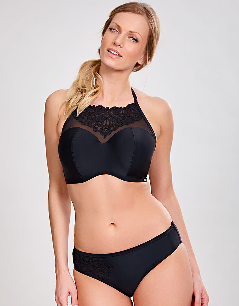 Panache Ceylon High Neck Bandeau Bikini Top Black