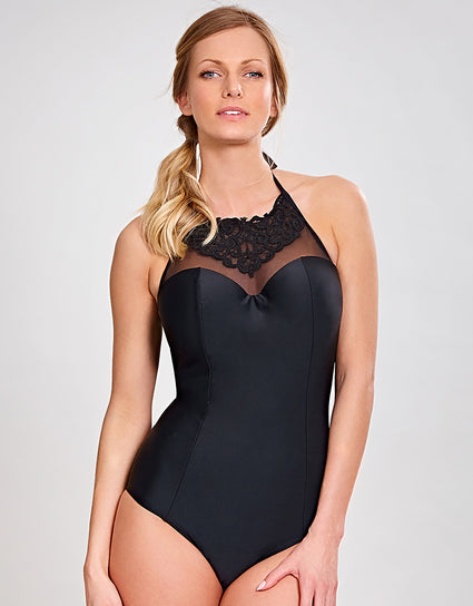 Panache Ceylon High Neck Swimsuit Black