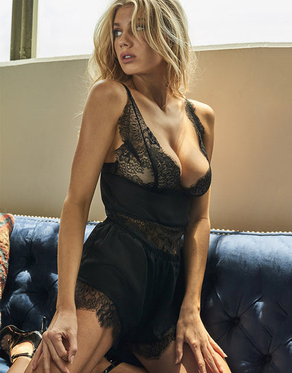 Wolf & Whistle x Charlotte McKinney Siena Lace Trim Vest & Short Set Black