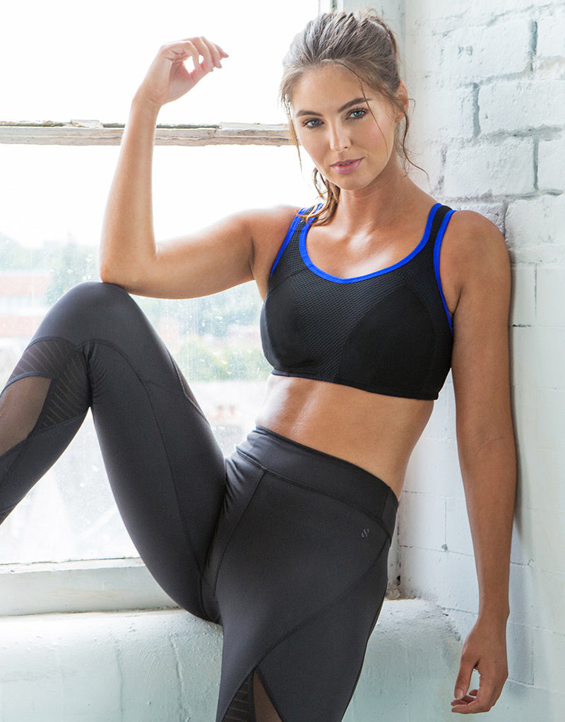 Pour Moi Energy Fearless Non Wired Full Cup Sports Bra Black/Cobalt Blue