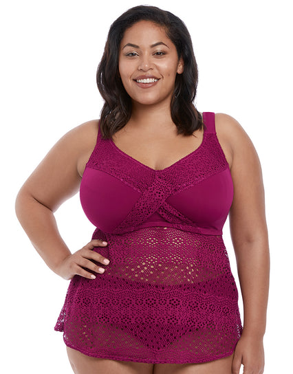 Elomi Indie Twist Front Tankini Top Berry