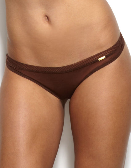 Gossard Glossies Thong Rich Brown