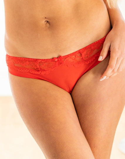 Ivory Rose Lace Side Thong Red