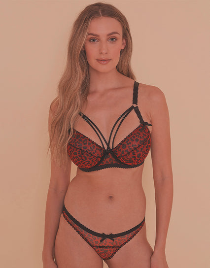 Playful Promises Josie Leopard Mesh Picot Balconette Bra Black/Red