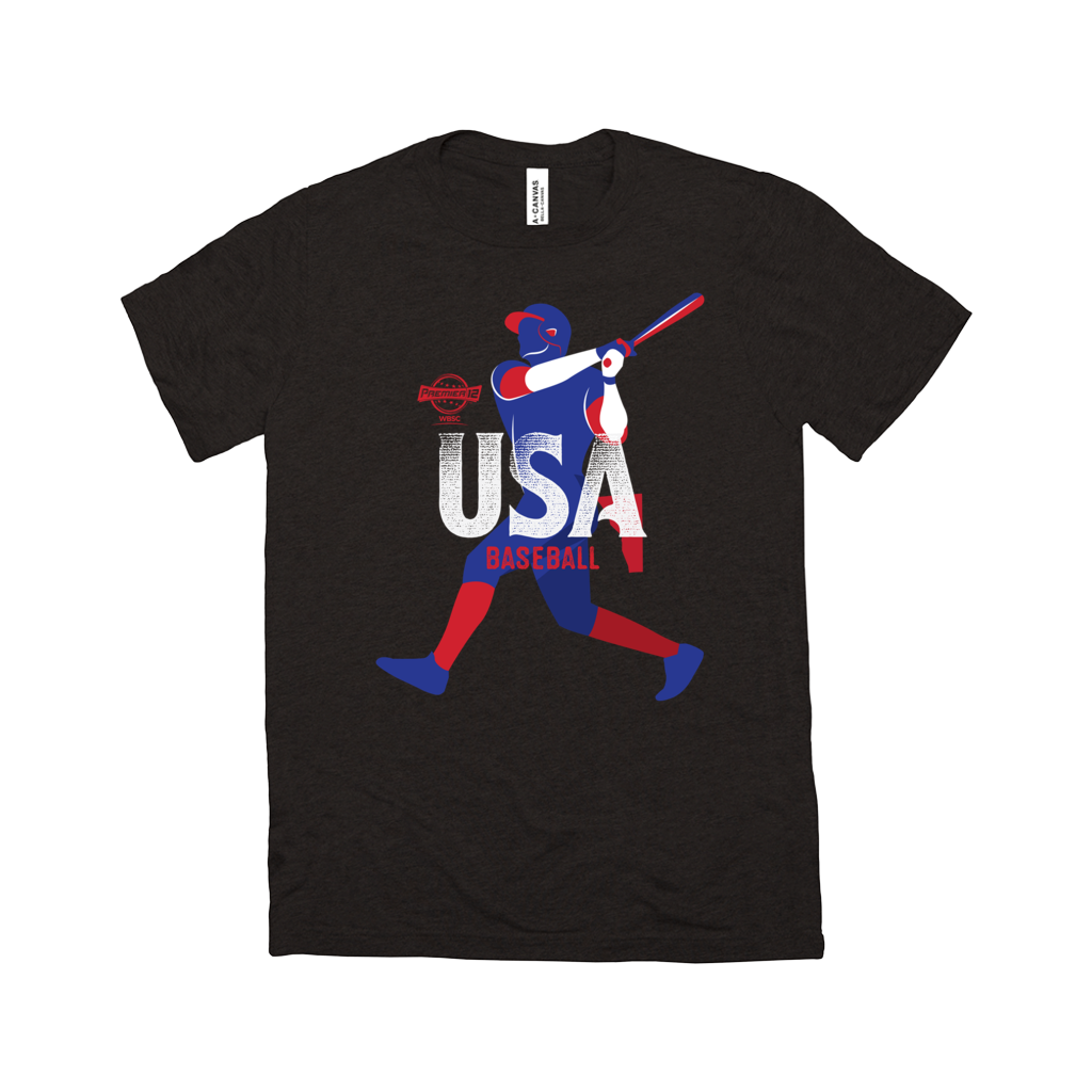WBSC-Premier12-Baseball-USA-Womens-T-Shirt-Black