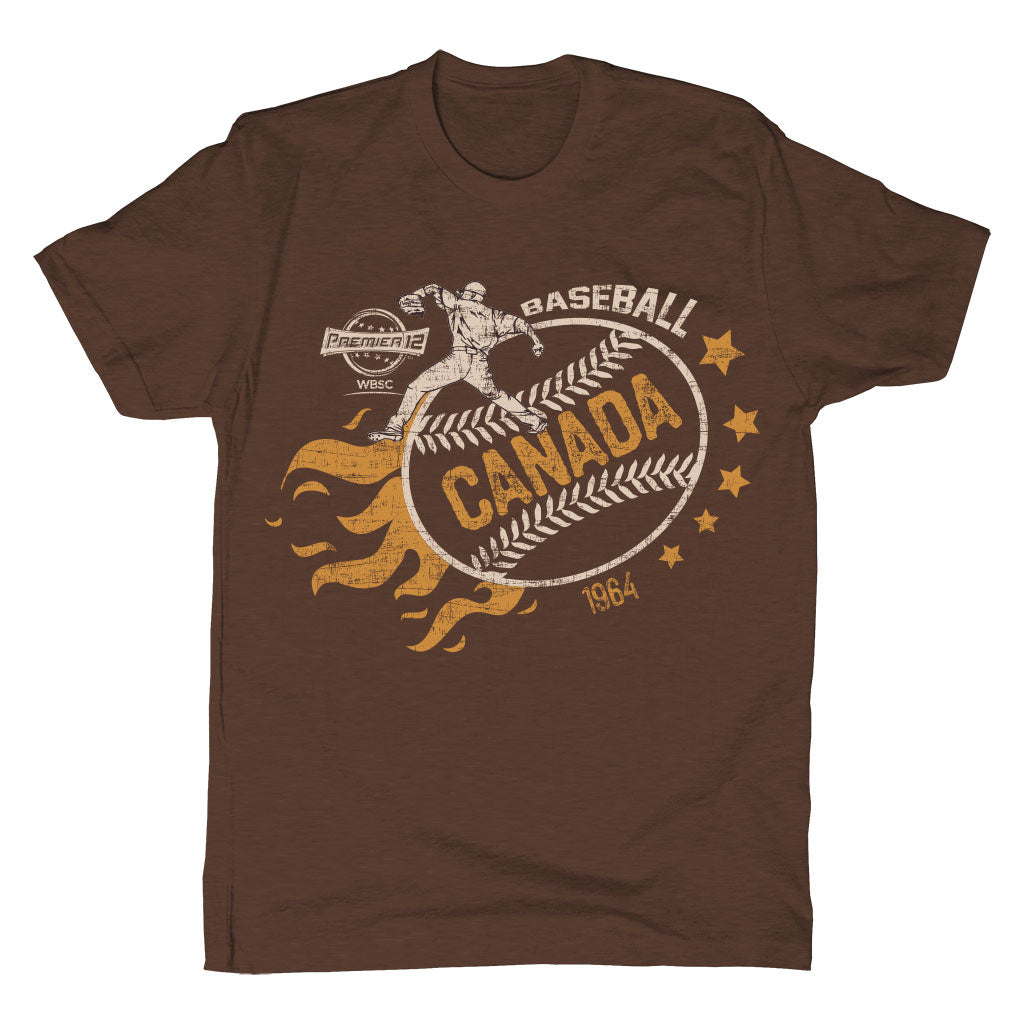 WBSC-Premier12-Baseball-Canada-Mens-T-Shirt-Brown