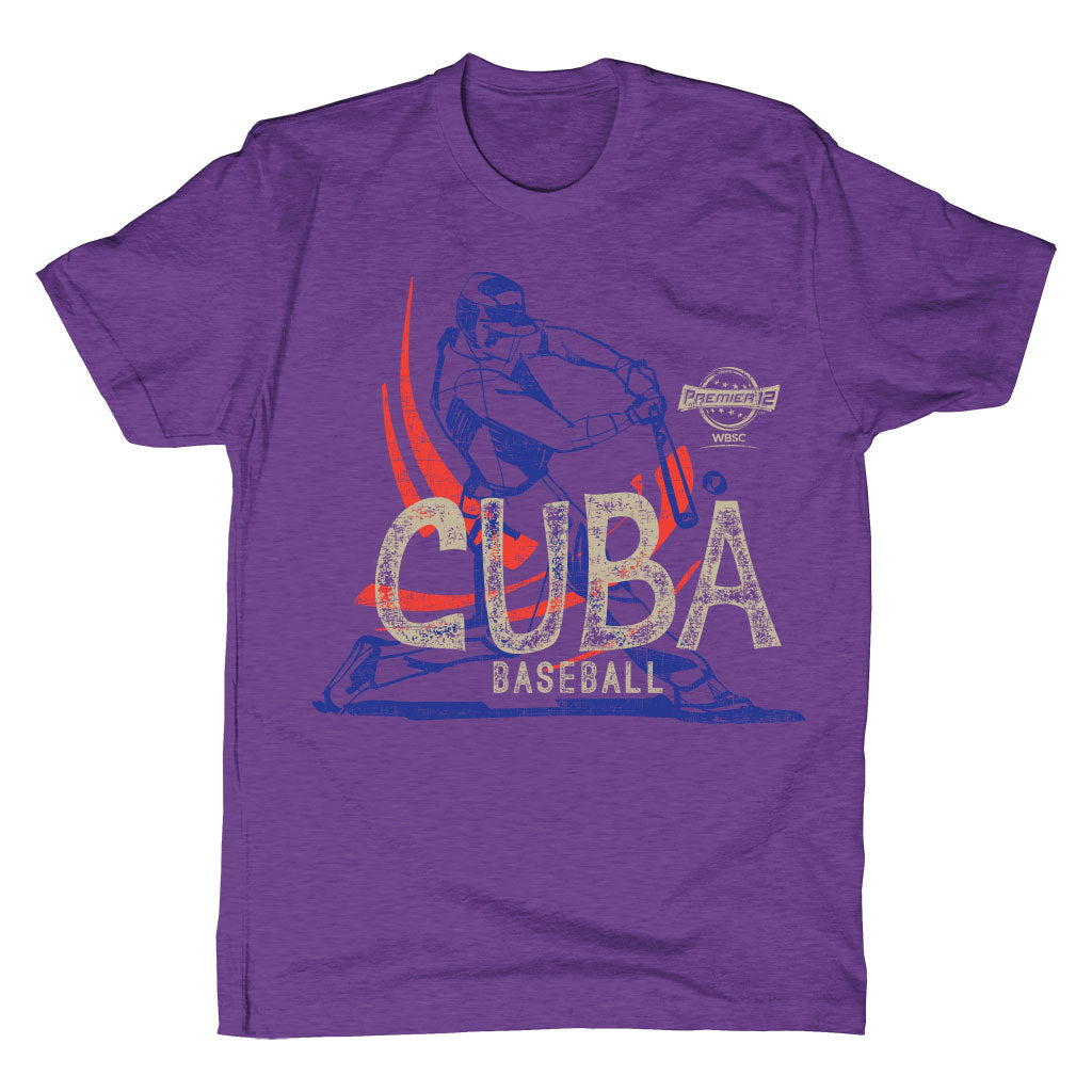 WBSC-Premier12-Baseball-Cuba-Mens-T-Shirt-Purple