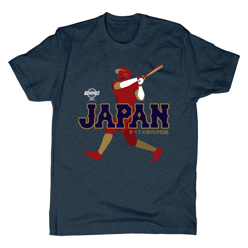 WBSC-Premier12-Baseball-Japan-Mens-T-Shirt-Blue