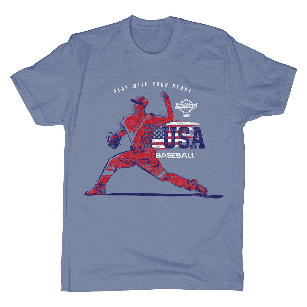 WBSC-Premier12-Baseball-USA-Mens-T-Shirt-Blue