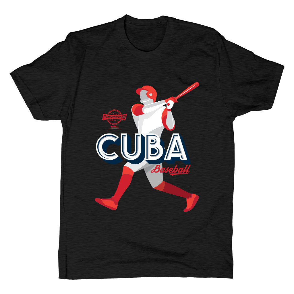 WBSC-Premier12-Baseball-Cuba-Mens-T-Shirt-Black