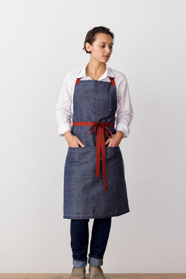 Classic Chef Apron, Blue Denim with Red Straps, Men or Women