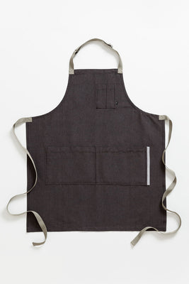 Classic Chef Apron, Charcoal Black with Tan Straps, Men or Women