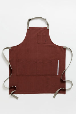 Classic Chef Apron, Maroon with Tan Straps, Men or Women