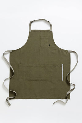 Classic Chef Apron, Olive with Tan Straps, Men or Women