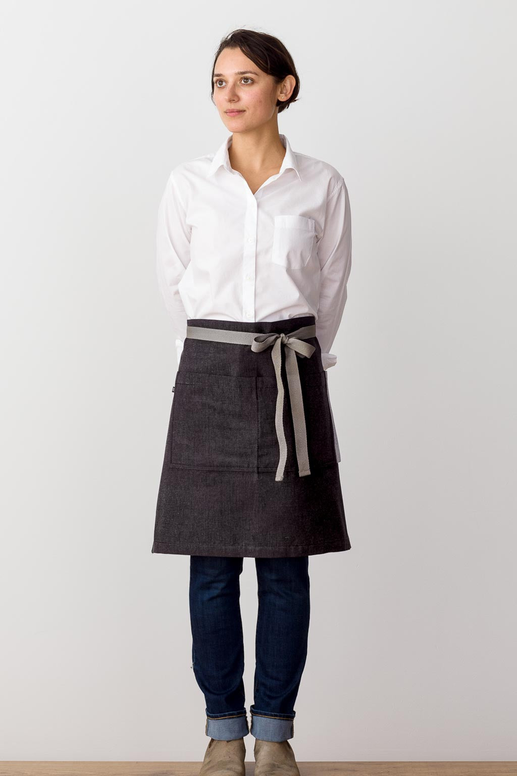 Bistro Middly Apron, Charcoal Black with Tan Straps, for Men and Women