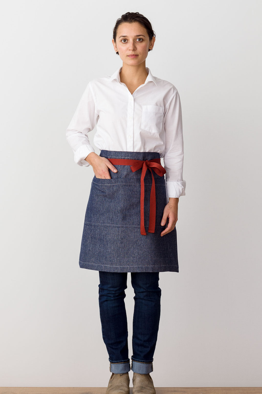 Bistro Middly Apron, Blue Denim with Red Straps, for Men and Women