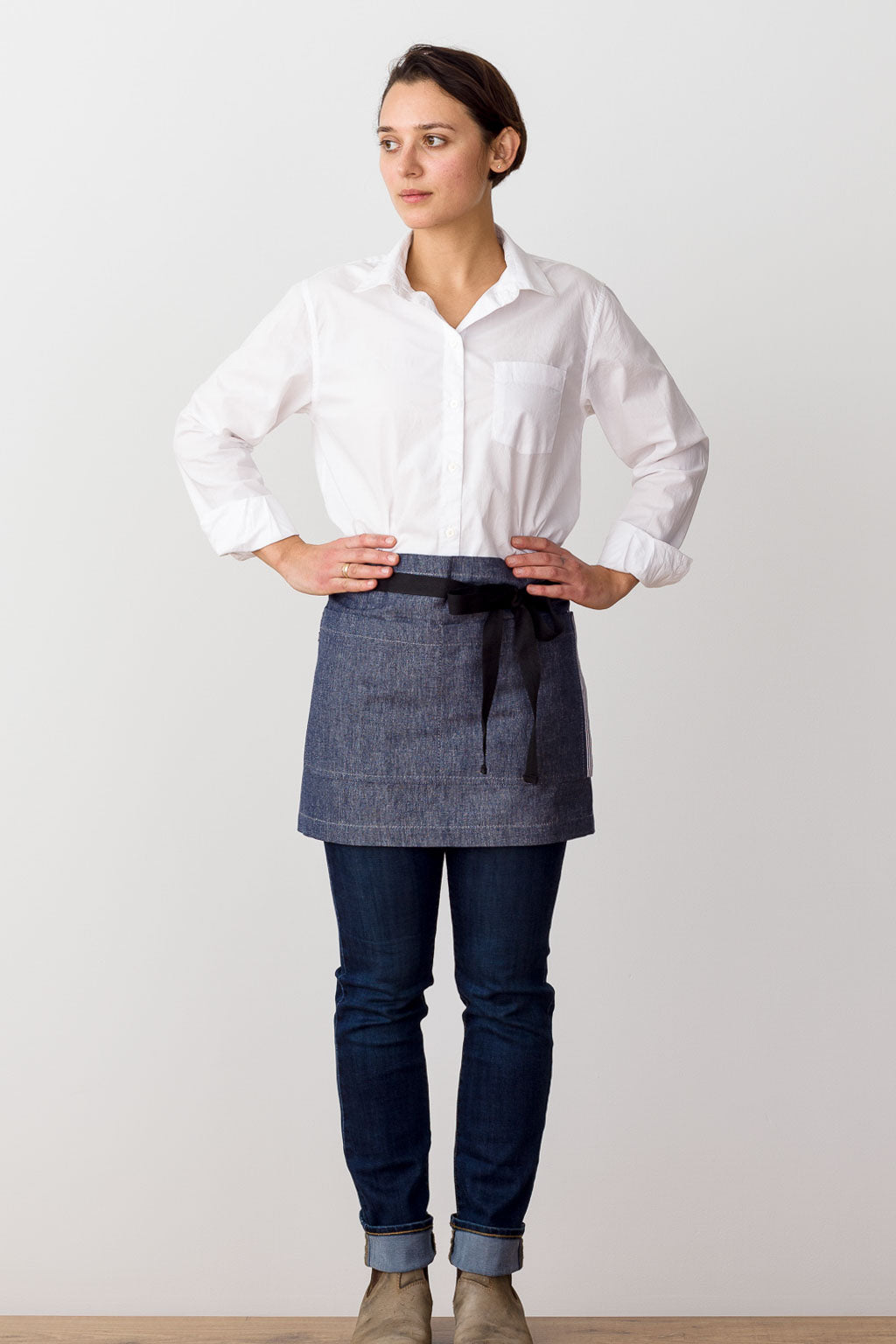 Bistro Shorty Apron Blue Denim with Black Straps, for Men or Women