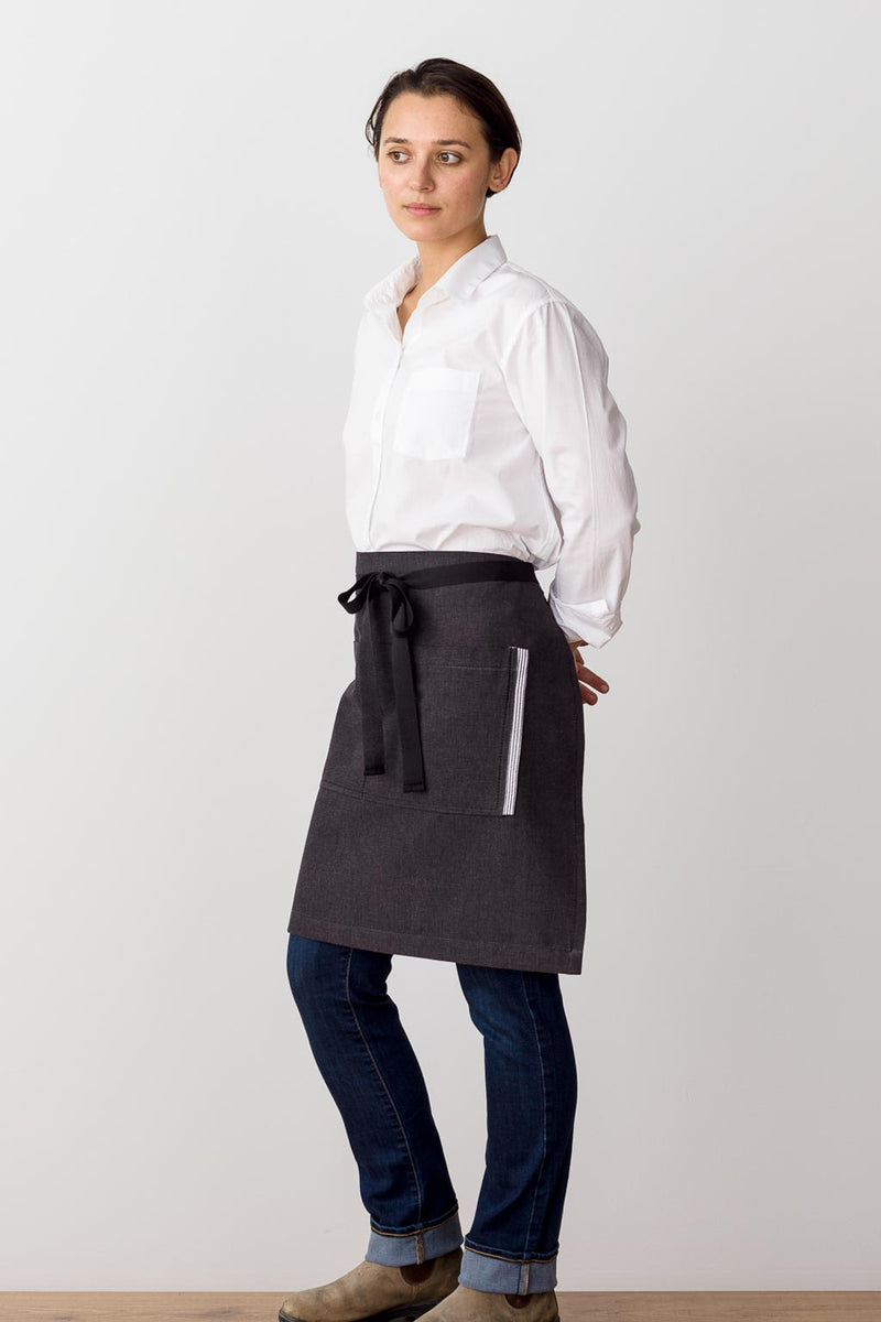Bistro Middly Apron, Charcoal Black with Black Straps, for Men and Women