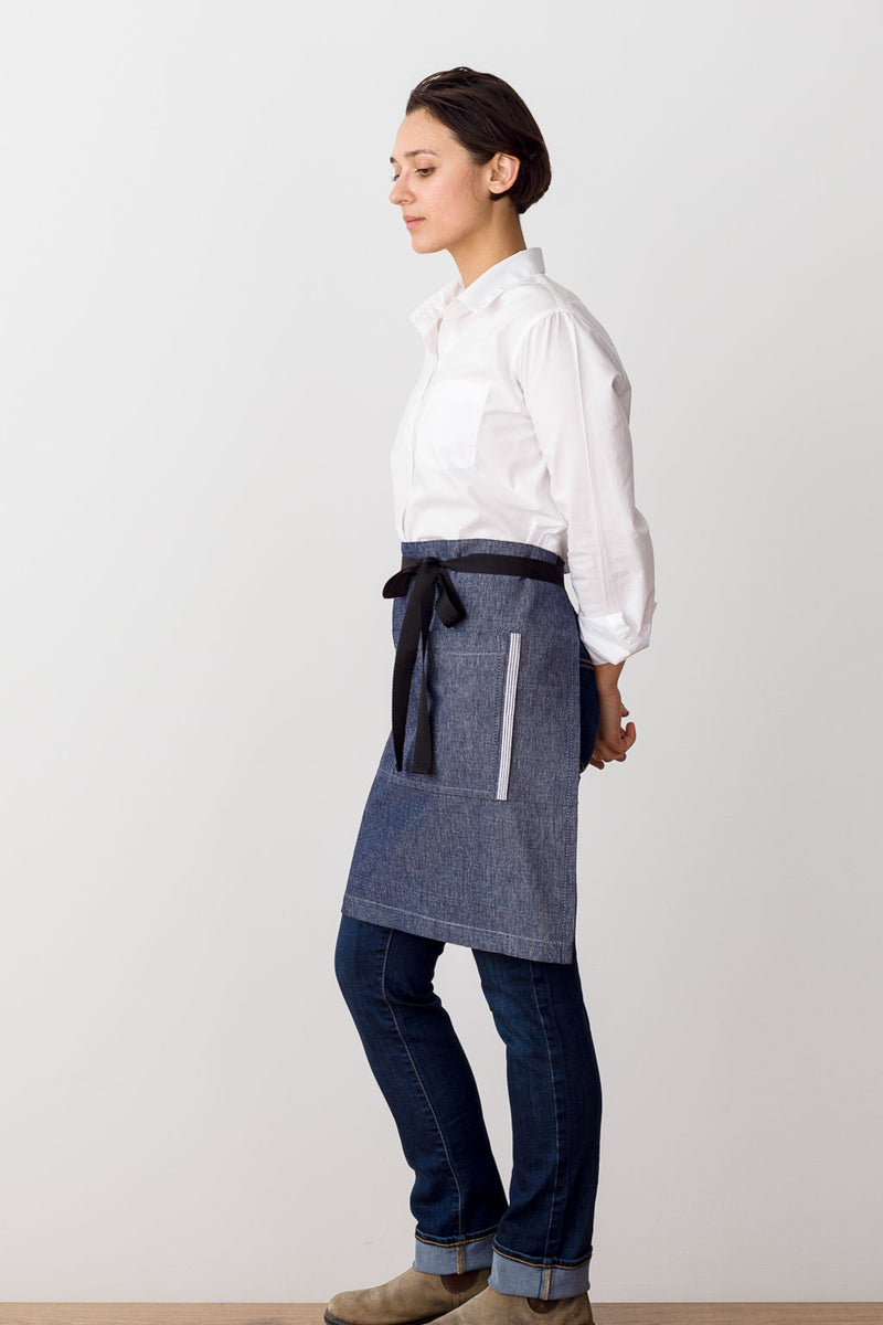 Bistro Middly Waist Apron, Blue Denim w/Black Straps, for Men and Women