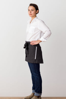 Bistro Shorty Apron Charcoal with Black Straps, for Men or Women
