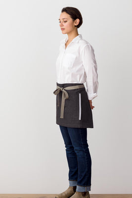 Bistro Shorty Apron Charcoal with Tan Straps, for Men or Women