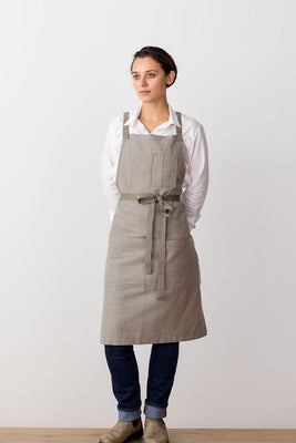 Cross-Back Chef Apron, Tan with Tan Straps, Men and Women