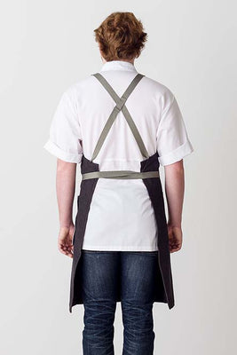 Cross-Back Chef Apron, Charcoal with Tan Straps, Men and Women