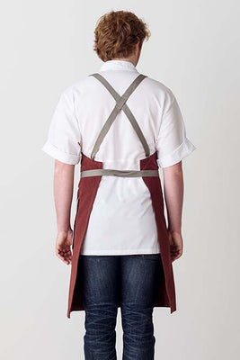 Cross-Back Chef Apron, Maroon with Tan Straps, Men and Women
