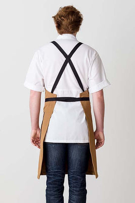Cross-Back Chef Apron, Ochre with Black Straps, Men and Women