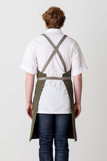 Cross-Back Chef Apron, Olive with Tan Straps, Men and Women