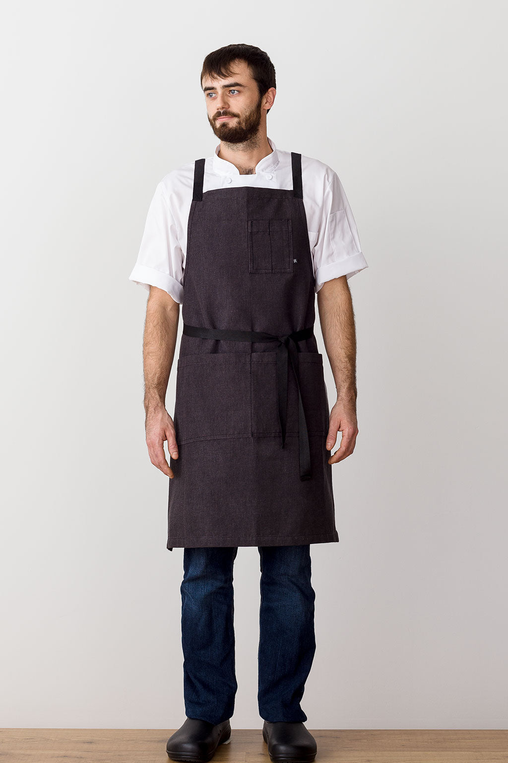 Cross-Back Chef Apron, Charcoal with Black Straps, Men and Women