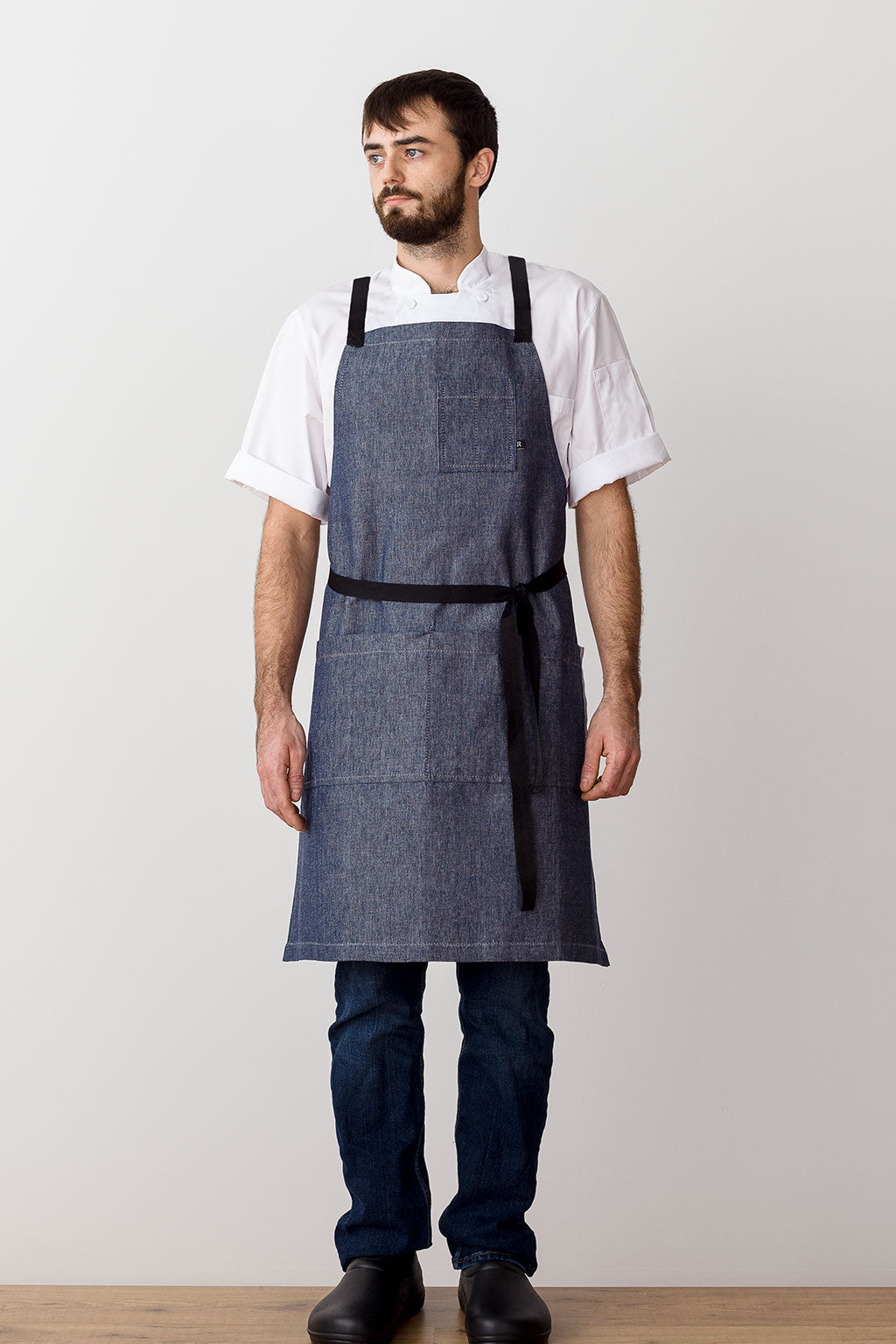 Cross-Back Chef Apron, Blue Denim with Black Straps, Men and Women