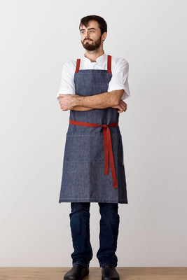 Cross-Back Chef Apron, Blue Denim with Red Straps, Men and Women