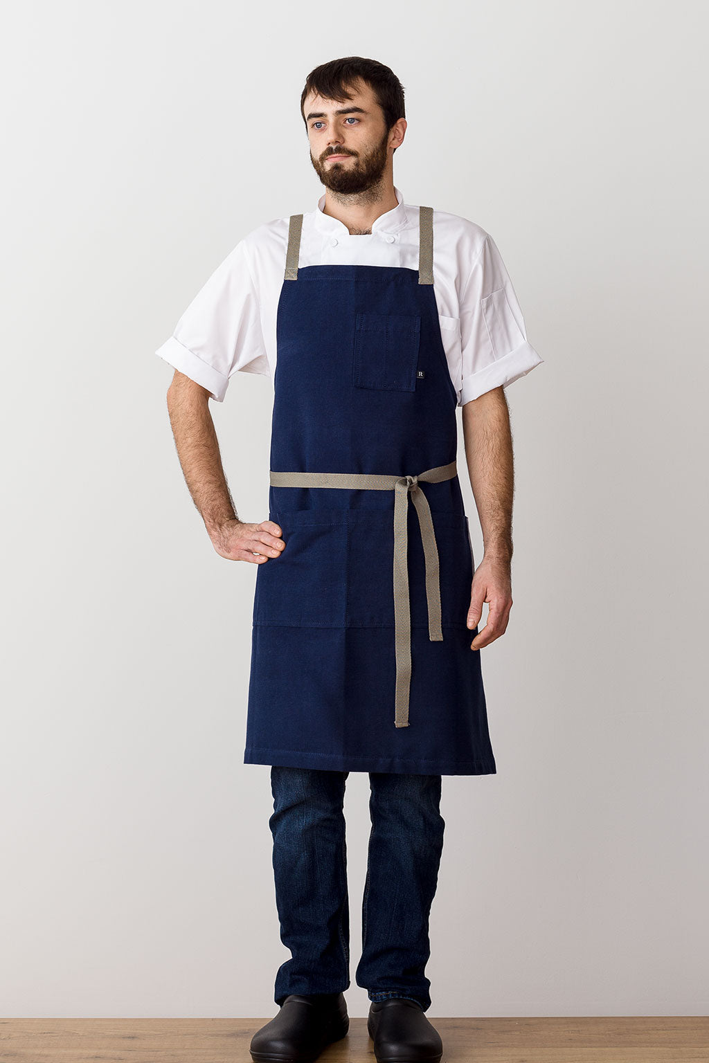 Cross-Back Chef Apron, Navy with Tan Straps, Men and Women