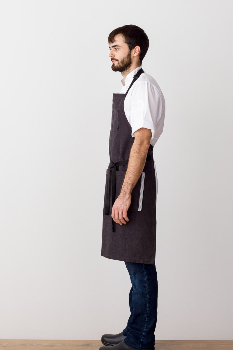 Classic Chef Apron, Charcoal with Black Straps, Men or Women